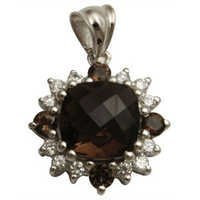 cubic zirconia pendant with smoky as center stone in cushion shaped in 925 sterling silver