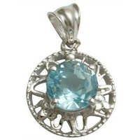 silver pendant round shaped blue topaz pendant