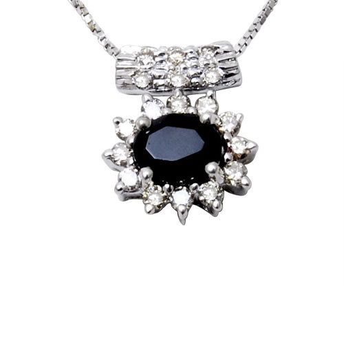 blue sapphire and diamond gold pendant in white gold from manufacturer