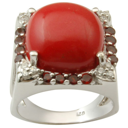 big stone silver ring coral ring red synthetic cor