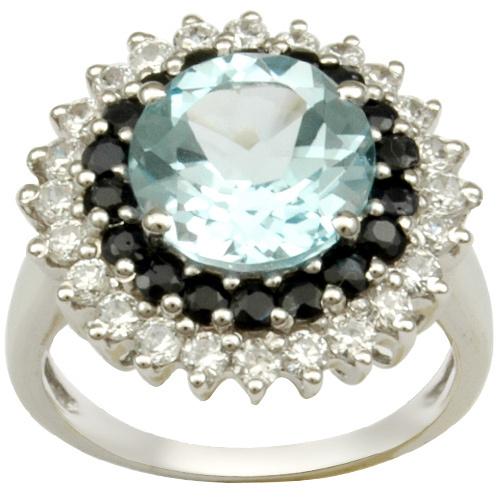 silver blue topaz black onyx cz silver ring in des