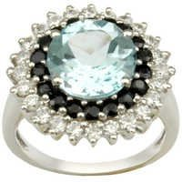 silver blue topaz black onyx cz silver ring in des