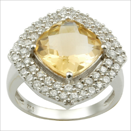 Citrine And Cz Silver Ring Designer Wedding Rings