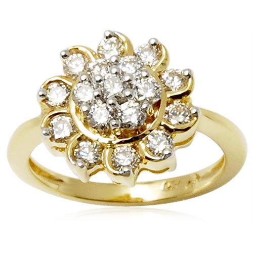 Floral Design Diamond Gold Ring