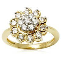 Floral Design Diamond Gold Ring