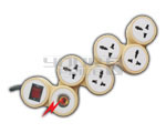 5 Outlet Universal Snake Spike Protector with Circuit Breaker Dual Pole Illuminated Switch