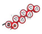 6 Outlet SNAE Spike Protector Indian Standard with Circuit Breaker Dual Pole Illuminated Switch