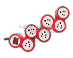 6 Outlet Snake Power Strip Indian Standard With Circuit Breaker Dual Pole Illuminated Switch 15 Amp