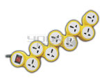 8 Outlet Universal Snake Power Strip with Circuit Breaker Dual Pole Illuminated Switch 15 Amps