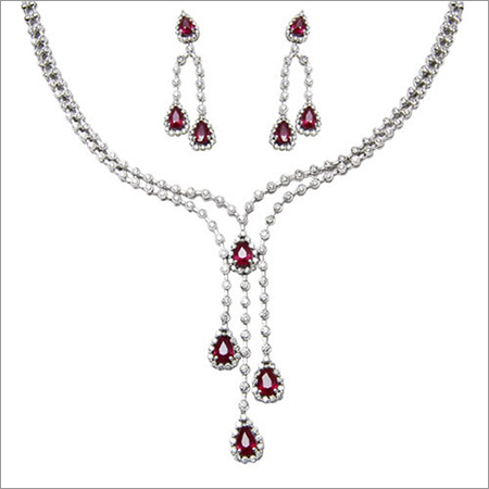 Hanging Diamond White Gold Ruby Necklace