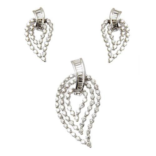 Baguette And Round Diamond Pendant Earring Set