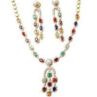 Colourful Precious Gemstone Pearl Necklace Earring
