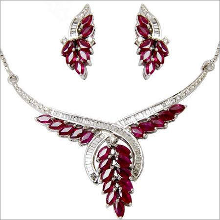 Marquise Cut Baguette Diamond Necklace Set