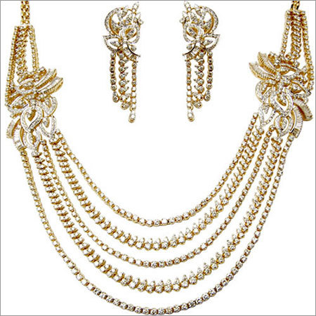 Five Layer Diamond Yellow Gold Necklace Exporter