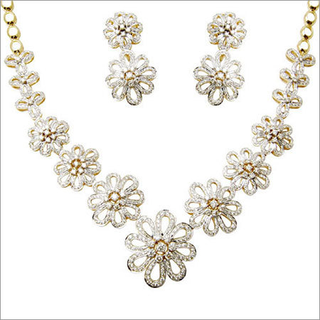 Elegant Floral Yellow Gold Bridal Necklace Jewelry