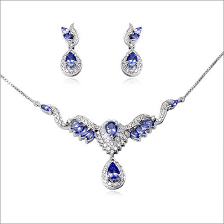 Low Cost Marquise Pear Tanzanite Necklace Set