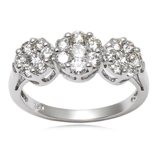 White Diamond Ring Pressure set Diamond Rings Diam