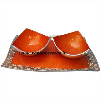Aluminium Meta Dry Fruit Bowls with Tray