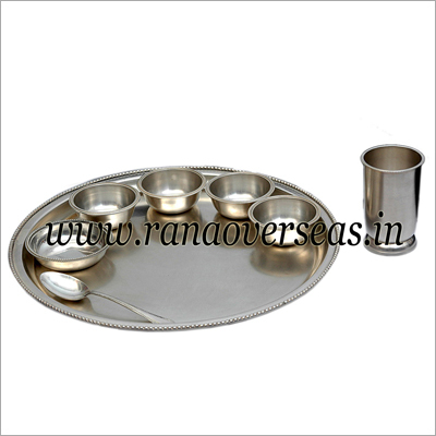 Brass Silver Plated Thali Set