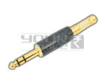 P-38 Stereo Connector Full Metal Black Coated (Tip Gold Plated) For 8.00 Mm Cable
