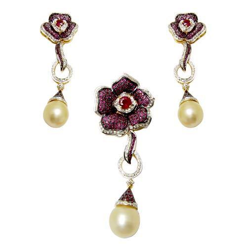 micro pave jewelry design, ruby pearl jewelry, latest 2012 gemstone jewelry design