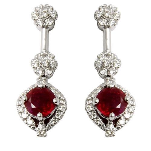 diamond ruby jewellery, best jewellery with ruby and diamonds, hanging earrings jewellery