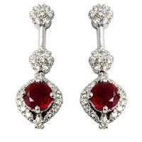 diamond ruby jewellery, best jewellery with ruby and diamonds, hanging earrings jewellery