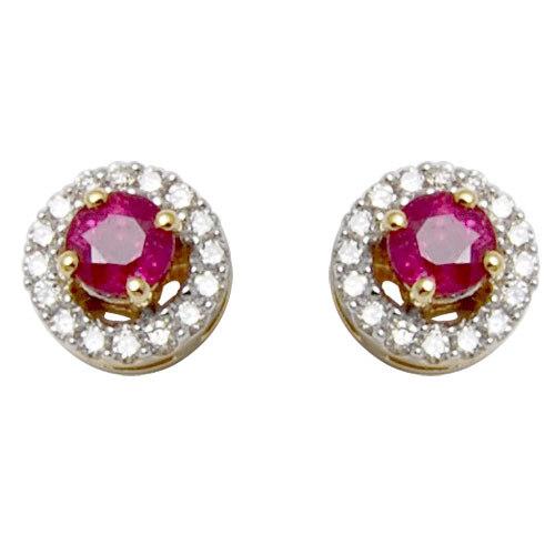 tops earrings jewelry in ruby, ruby diamond tops, ruby diamond studs