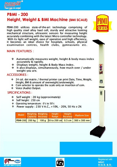 Height Weight BMI Machine