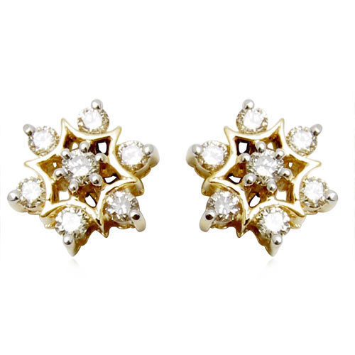 diamond jewellery earrings, traditional diamond tops, star diamond jewelery design