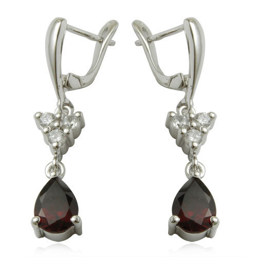 party wear fasshion jewelry fashion earrings in silver drop garnet cz sterling earrings