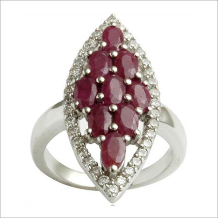 Ruby And CZ 925 Silver Jewelry Big Silver Ring JE