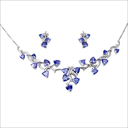 Cheap Trillion Cut Blue Tanzanite Necklace Set
