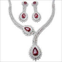 Heavy Necklace With Ruby And Diamond In White Gold