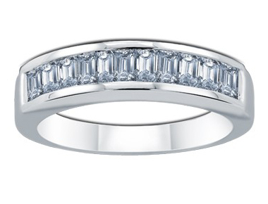 Enigma Baguette Diamond Ring 18K White Gold 0.94 ct total diamond weight