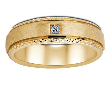 Yellow Gold Men's Solitaire Ring