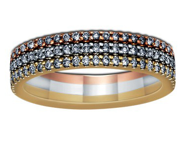 Rose, White & Yellow Gold Three Row Band