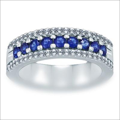 Triumph 3-Row Diamond (0.25 ct)  Blue Sapphire (0.61 ct) Ring 18K White Gold