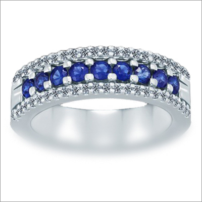 Triumph 3-Row Diamond (0.25 ct)  Blue Sapphire (0.61 ct) Ring 18K White Gold