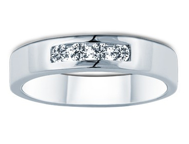 Four-Stone Family Diamond Ring 18K White Gold 0.29 ct total diamond weight