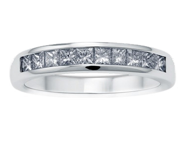 Enigma Single Line Diamond Ring 18K White Gold 0.50 ct total diamond weight