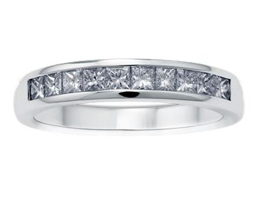 Enigma Single Line Diamond Ring 18K White Gold 0.50 ct total diamond weight