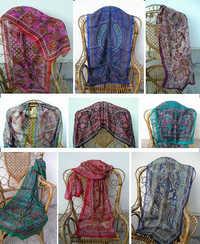 100%  silk printed scarfs
