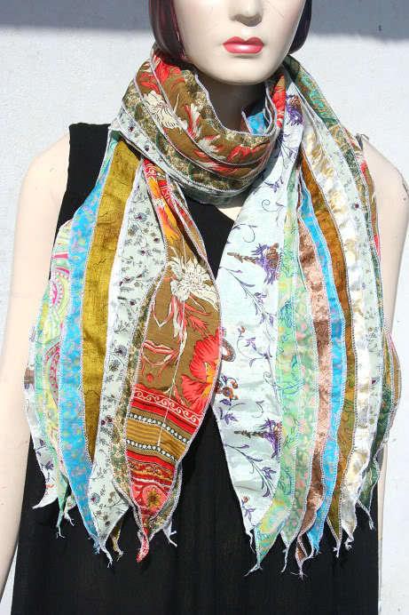100% Silk ribbon printed Scarfs