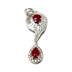 18k white gold pendant, Ruby and diamond