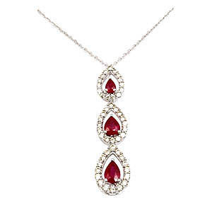 18k white gold necklace 1.17 ct Ruby 0.74ct diamon