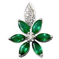 0.12ct diamond 0.76ct emerald 18k gold pendants