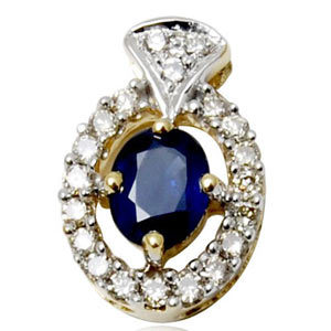 small diamond and blue sapphire pendant, real diamond pendant, blue sapphire pendant in gold