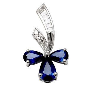 semi flower shaped white gold pendant, three leaf pendant design, blue sapphire diamond pendant