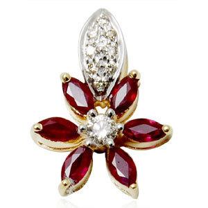ruby flower pendant with diamonds, marquise ruby diamond pendants, gold pendant design for women